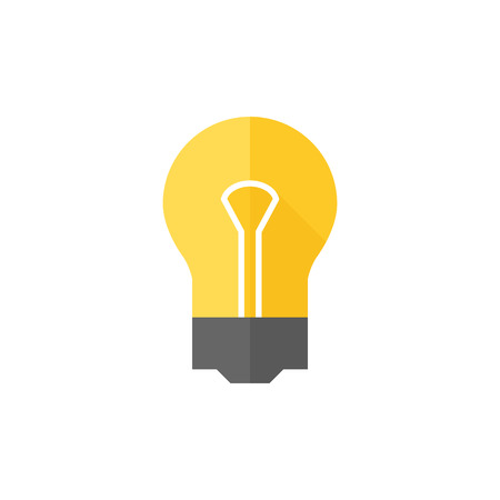 simple: Light bulb icon in flat color style. Idea inspiration electricity light Illustration