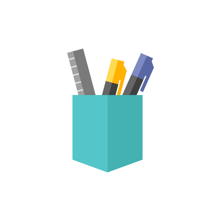 pencil holder: Pen pot icon in flat color style. Office supply writing drawing desktop storage