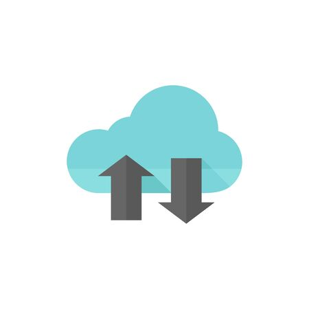 Cloud icon with arrows in flat color style. Computing data storage file hosting Illustration
