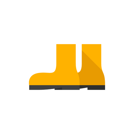 Wet boots icon in flat color style. Rain season weather protection