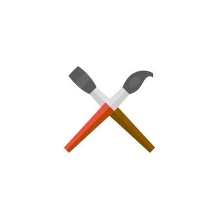 Paint brushes icon in flat color style. Artist, painting, drawing, artwork