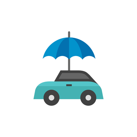 Car and umbrella icon in flat color style. Insurance protection investment transportation