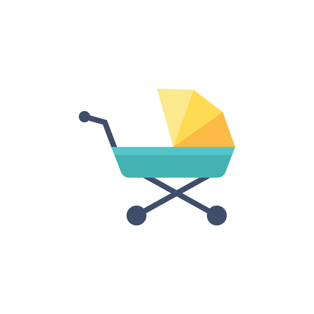 Baby stroller icon in flat color style. Cart kids toddler babysitting transportation Illustration
