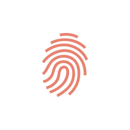security: Fingerprint icon in flat color style. Science security crime anatomy identity
