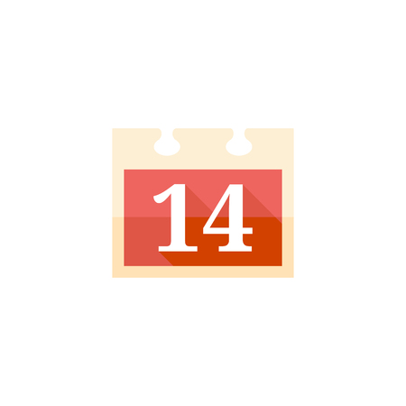 design office: Valentine calendar icon in flat color style. Love celebrate February date day