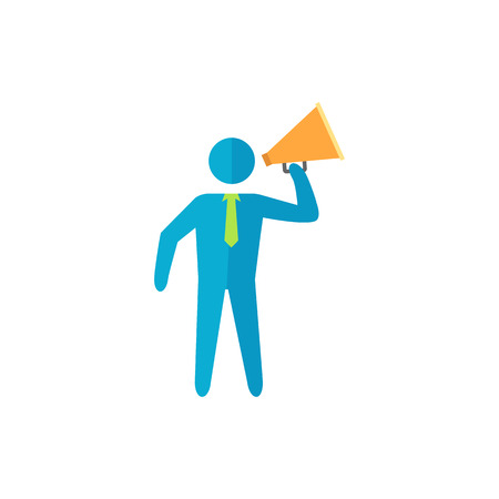 motivator: Businessman loudspeaker icon in flat color style. Motivator leader announce megaphone