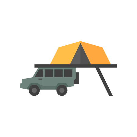 Portable camping tent icon in flat color style. Shelter vacation travel hiking mobile car automobile safari Africa