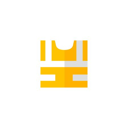 Safety vest icon in flat color style. Construction wear safety protection