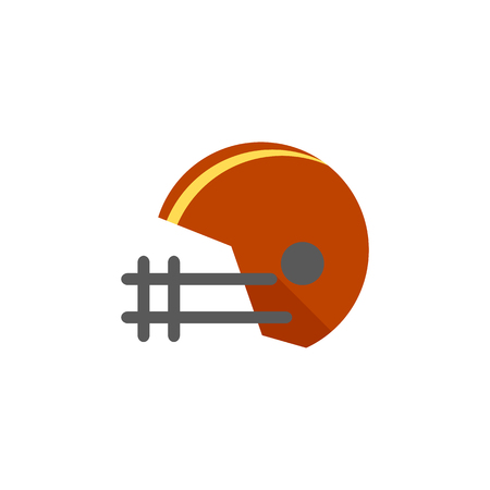 Football helmet icon in flat color style. Sport American center back protection