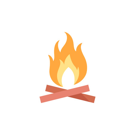 Camp fire icon in flat color style. Camping burn heat wild fire