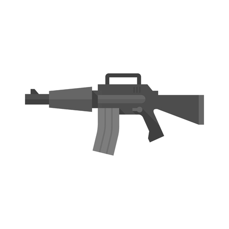 gatillo: Assault riffle icon in flat color style. Military army automatic police justice crime trigger protection