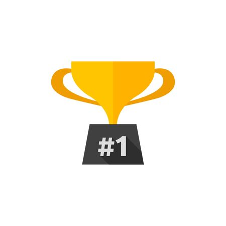 Trophy icon in flat color style. Winner champion prize honor celebration cup gold bronze first place