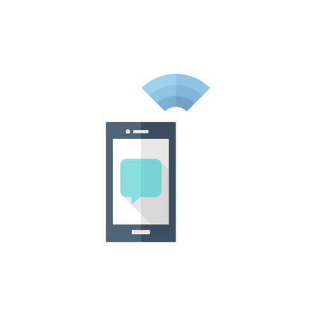 flat screen: Smartphone icon in flat color style. Communication device, touch screen Illustration