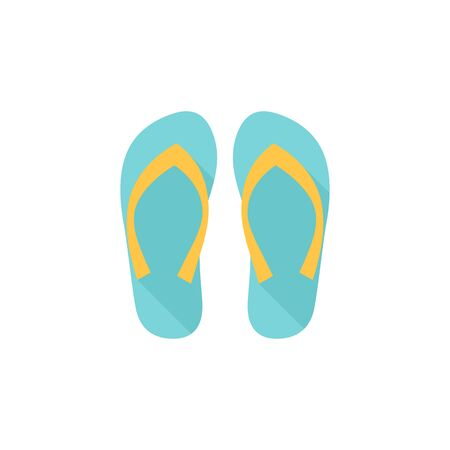 Slipper sandal icon in flat color style. Beach wear relaxation casual rubber