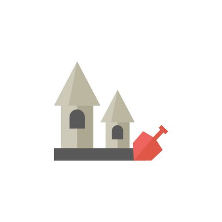 Sand castle icon in flat color style. Beach building kids shovel
