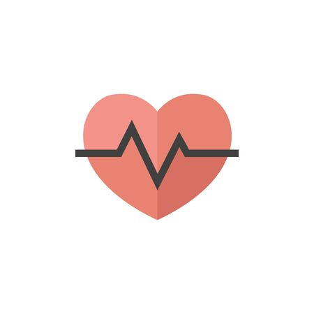 pulsating: Heart rate icon in flat color style. Human pulse line beep graph Illustration