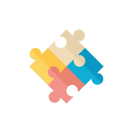 technology symbols metaphors: Puzzle icon in flat color style. Toy playing jigsaw match parts Illustration