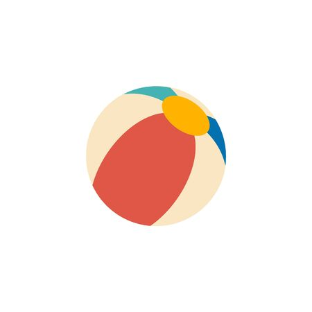 inflatable ball: Beach ball icon in flat color style. Playing inflatable kids.