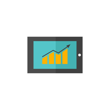 screen: Arrow chart icon in flat color style. Digital, display, tablet, phone