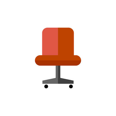 comfortable: Office chair icon in flat color style. Business supply furniture comfort work Illustration