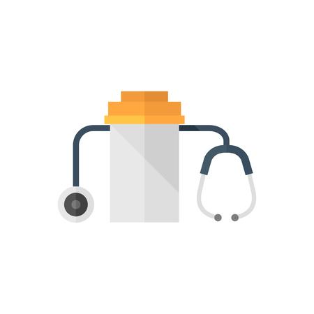 puls: Medical krzyż ikon w stylu płaskim kolorem. Pogotowie.