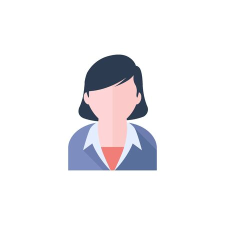 Female receptionist icon in flat color style. Call center, help desk, support