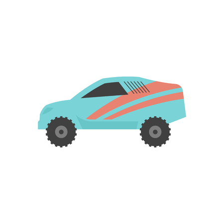 Rally car icon in flat color style. Race championship competition fast track road