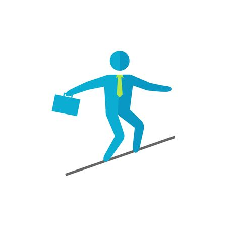 thrill: Businessman challenge icon in flat color style. Extreme business  adrenaline Illustration