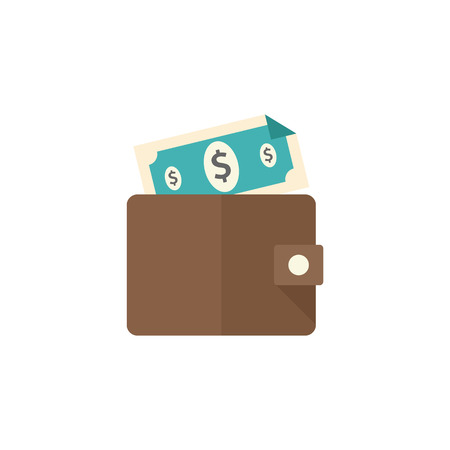 shop sign: Wallet icon in flat color style. Money case cash shopping finance banking Illustration