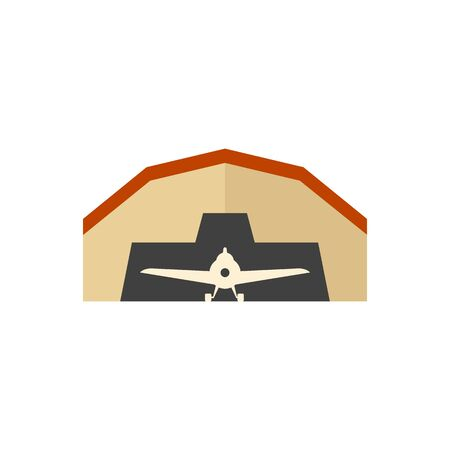 building structure: Airplane hangar icon in flat color style. Aviation repair maintenance building structure