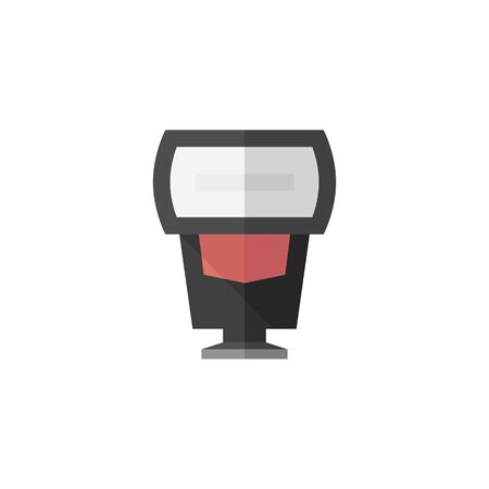 electronic: Camera flash icon in flat color style. Photography equipment light studio bulb