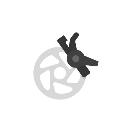 wire: Bicycle brake icon in flat color style. Transportation sport cycling ride speed control safety stop spare part