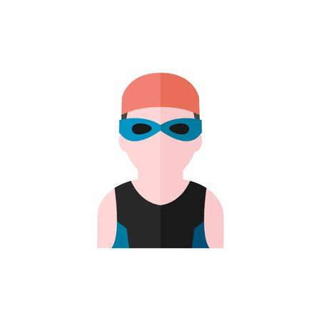competitions: Swimming athlete icon in flat color style. Sport water pool olimpys Olympian