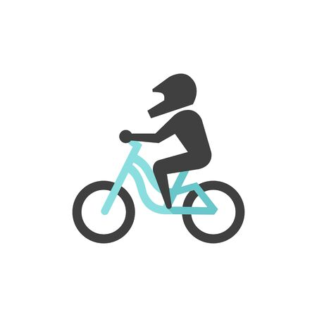 Mountain biker icon in flat color style. Sport bicycle extreme downhill cycling helmet