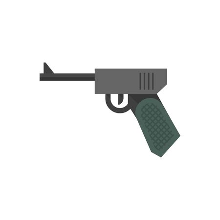 aged: Hand gun icons in flat color style. Vintage fire arm world war