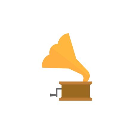 music: Gramophone icon in flat color style. Music instrument player listen nostalgia Illustration