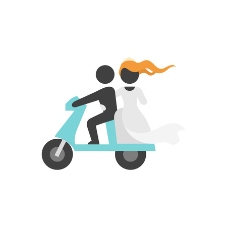 Wedding scooter icons in flat color style. Newlywed riding scooter motor