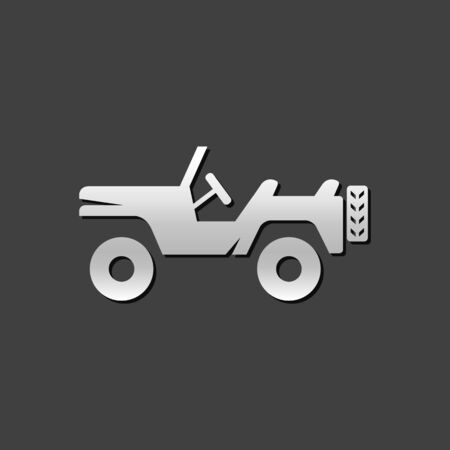 vehicle icon: Military vehicle icon in metallic grey color style. Offroad country road