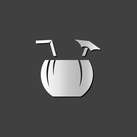 tropical drink: Coconut drink icon in metallic grey color style. Tropical Asian. Illustration