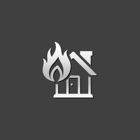 disaster: House fire icon in metallic grey color style. Nature disaster accident