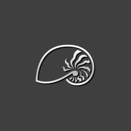 oceanic: Nautilus icon in metallic grey color style. Sea creature mollusk