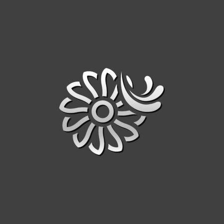 water turbine: Water turbine icon in metallic grey color style.Energy renewable environment