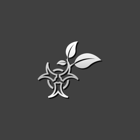 Biohazard leaves icon in metallic grey color style. Science technology biology