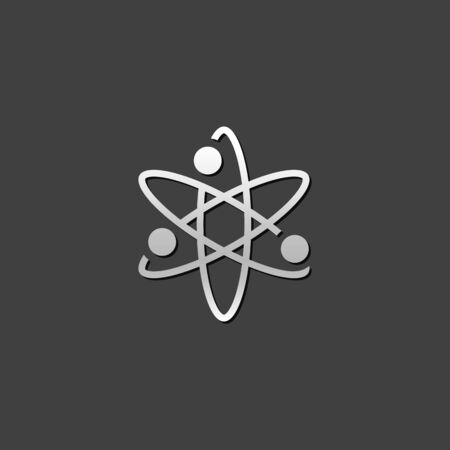 Atom structure icon in metallic grey color style. Science education Illustration