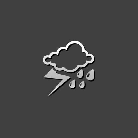 Weather overcast storm icon in metallic grey color style.Nature forecast thunder