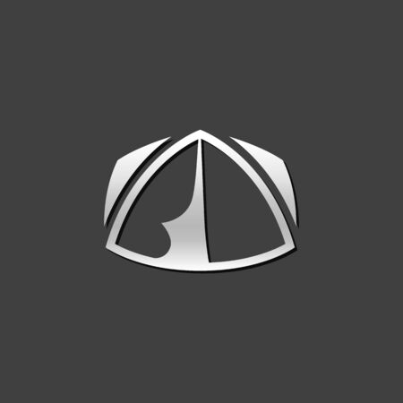 grey: Camping tent icon in metallic grey color style. Shelter vacation travel Illustration