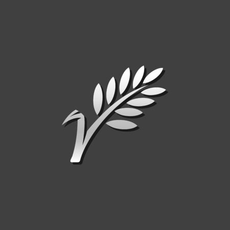 plant seed: Wheat icon in metallic grey color style.Cereal seeds baking