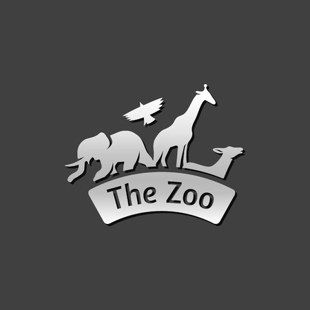 grey: Zoo gate icon in metallic grey color style. Animal park park Illustration