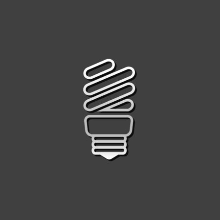 shiny metal: Light bulb icon in metallic grey color style.light environment friendly