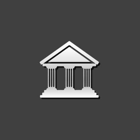 building: Bank building icon in metallic grey color style. Business banking money Illustration